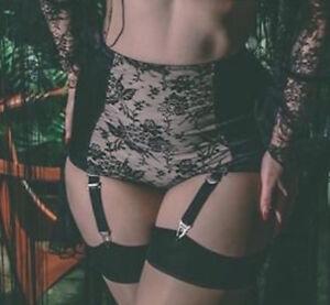 House Of Satin Suspender Brief Black Cream Lace Panel Garter Strap 6 8 10 12 18
