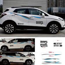 Car Sports Racing Stripes Stream-line Fashion Door Decal Side Sticker Black+Blue