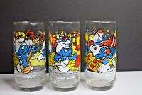 Vintage 1983 Smurfs Set of 3 Collector Glass Cups Handy, Clumsy, & Harmony