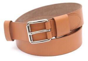 MICHAEL KORS COLLECTION Leather Belt Tan Medium Width Silver Buckle Sz S NEW