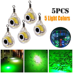 5Pcs LED Underwater Fish Fishing Night Light Fluorescent Glow Bait Lure Lamp