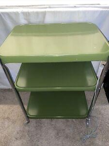 Vintage 3 Tier Cosco Metal Green Chrome Kitchen Rolling Cart w/Power Strip