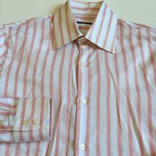MINT Hugo Boss Mens Size 15 EU38 Pink White Striped Long Sleeve Dress Shirt