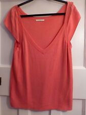 MARKS & SPENCER CANDY FINE KNIT V NECK CAP SLEEVE TOP SIZE 22