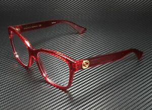 GUCCI GG0038O 004 Rectangular Square Red Demo Lens 54 mm Women's Eyeglasses