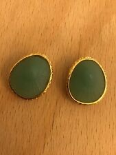 shaped clip on earrings 2.5cm approximately Gold tone oval green resin shell
