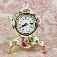 "Ornamental Collectibles Ceramic Clock Floral Gold Trim Works 8.5"" tall x 6"" wide"