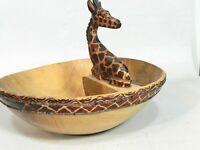 Hand Carved Giraffe Wood  Bowl    sf6