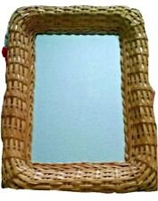 Mirror Wicker Ratan type Medium Tan Rectangle Smooth Vanity Wall Mount Decorate