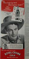 1945 RC Royal Crown Cola Gary, Cooper Along Came Jones vintage ad