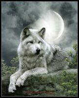 Night Wolf - DIY Chart Counted Cross Stitch Patterns Needlework 14 ct Aida