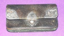ANTIQUE VICTORIAN 1899 STERLING SILVER MOUNTS CLASP LEATHER PURSE HENRY MARSHALL