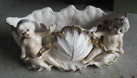 vintage Royal Sealy Japan Glazed Ceramic Cherubs Wide Planter