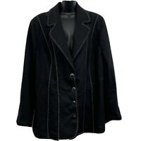 Added Dimensions for Catherines Womans Button Up Blazer Black Plus Size 1X