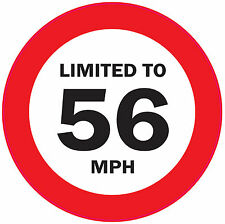 5 x LIMITED TO 56 MPH 125mm Vehicle speed restriction sticker - VAN/WAGGON/LORRY