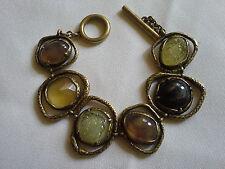 Beautiful Vintage Crystal Multi Gemstone Brass Bracelet