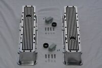 Polished Aluminum & Black Finned Chevy Retro Tall Valve Covers 283 305 350 400