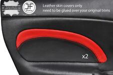 BLACK & RED  2X DOOR CARD TRIM LEATHER COVER FOR MAZDA MX5 MK2 2.5 MIATA 01-05