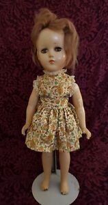 """Vintage Unmarked Composition Girl Doll Working Brown Sleep Eyes Adorable 14"""""""
