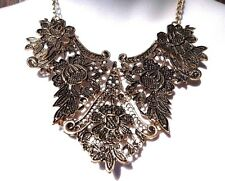BRASS LACE YOKE BIB NECKLACE chunky metal floral antiqued gold bronze heavy D1
