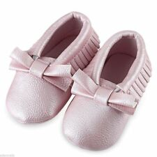 NEW Baby Girls Pink Faux Leather Bow Tassel Fringe Moccasin Crib Shoes 12-18 M
