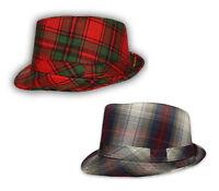 RARE - R C Headwear Mens Unisex Tartan - Plaid Check - Trilby Fedora Cap Hat