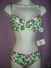 Free People Ivory Maui Print 34C Bra, Small Bikini Panty New With Tags