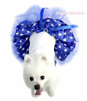 White Sleeveless Royal Blue Rhinestone Bow Patriotic Stars Skirt Pet Dog Dress