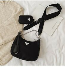 Boutique Blogger Black Nylon Re-Edition Multi Pochette Chain Mini Shoulder Bag