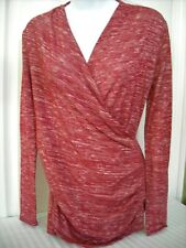 💕 Lilac Clothing Maternity Wrap Top Size S Red Heathered Long Sleeves Stretchy