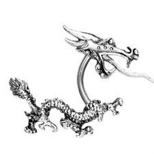 ACERO inox. Pendiente Enchufe DRAGON Pendientes dragón color plata