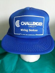 CHALLENGER WIRING DEVICES Ball Cap Hat Snapback Truckers Mesh Blue Vintage