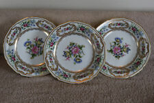"Lot of 3 Noritake China Dresolin 7 7/8"" Rim Soup Bowls Floral Gold Trim HTF"