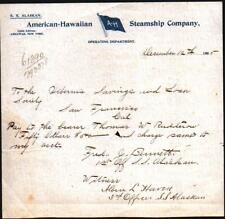 1905 Hawaii - American Hawaiian Steamship Co - S S Alaskan - Letter Head History