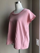 Burberry Brit Light Copper Pink Pom Pom Tee Shirt Blouse Small or Large NWT