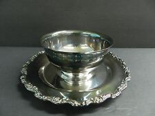 ONEIDA ROYAL PROVINCIAL SILVER PLATE BOWL W/ ATTACHED TRAY