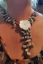 Mother Of Pearl Flower Design and Shell Cord Necklace