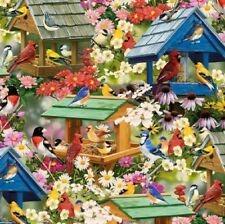 Spring Again Birds Birdhouses Flowers Cotton Quilting Fabric 1/2 YARD