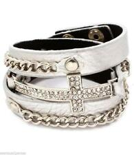 Cross Wrap Women Austrian Crystal Bracelet Silver Plated Chain New