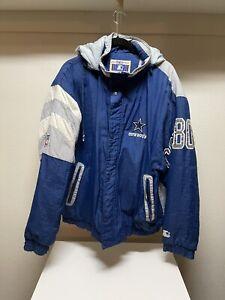 Vtg Starter Dallas Cowboys Hoody Quilted Jacket Team NFL Mens XL FLAWED