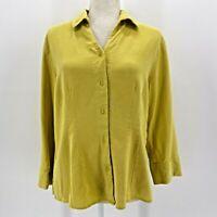 Tianello Tencel Blend Yellow Button Shirt Womens Medium