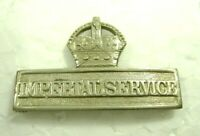 """WWI Era British Territorial Force Imperial Service Badge Crown Silver 1.5"""" Long"""