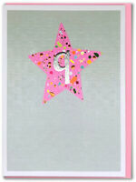 Childrens Age 9 Girl Pink Birthday Card Foiled  Bright Neon Star Kids
