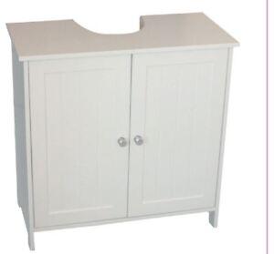 New White Under Sink Under Basin Bathroom Cabinet Storage Cupboard Wooden