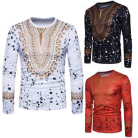Men's Casual African Print Crew Neck Pullover Long Sleeve T-shirt Tops Blouse