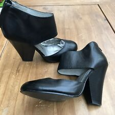 CHINESE LAUNDRY Black Soft Leather Back Zip Ankle Strap Quirky Heel Shoes 36/3.5