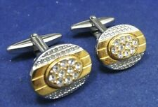 Vintage Costume Men's Jewelry Cufflinks Gold tone Silver tone Rhinestone Petite