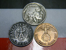 WWII Germany 2 & 10 Reichspfennig Coins 1930's Buffalo Nickel US German Lot