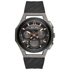 Bulova CURV Men's Quartz Dark Grey Chronograph Rubber Band 44mm Watch 98A162