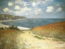 Path Through The Corn at Pourville by Claude Monet Giclee Repro on Canvas